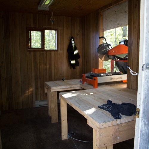 Core cutting shack.